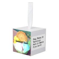 """Sweetest Town"" Design For Allegan, Michigan Cube Ornament"