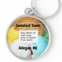 """Sweetest Town"" Design For Allegan, Michigan Keychain"