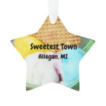 """Sweetest Town"" Design For Allegan, Michigan Ornament"