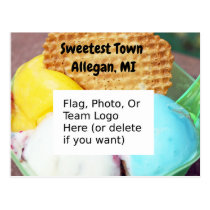 """Sweetest Town"" Design For Allegan, Michigan Postcard"