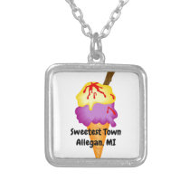 """""""Sweetest Town"""" Design For Allegan, Michigan Silver Plated Necklace"""