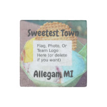 """""""Sweetest Town"""" Design For Allegan, Michigan Stone Magnet"""