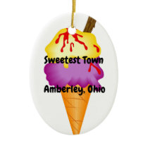 """Sweetest Town"" Design For Amberley, Ohio Ceramic Ornament"
