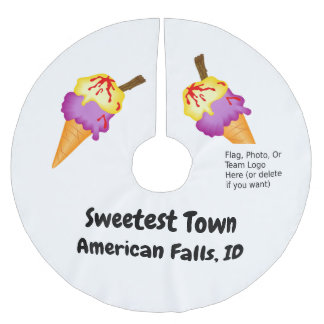 """Sweetest Town"" Design For American Falls, Idaho Brushed Polyester Tree Skirt"