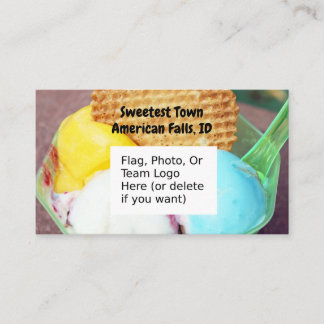 """Sweetest Town"" Design For American Falls, Idaho Business Card"
