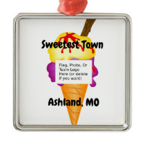 """Sweetest Town"" Design For Ashland, Missouri Metal Ornament"
