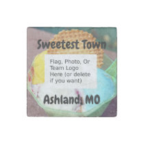 """Sweetest Town"" Design For Ashland, Missouri Stone Magnet"