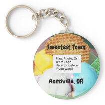"""Sweetest Town"" Design For Aumsville, Oregon Keychain"
