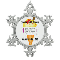 """Sweetest Town"" Design For Aumsville, Oregon Snowflake Pewter Christmas Ornament"