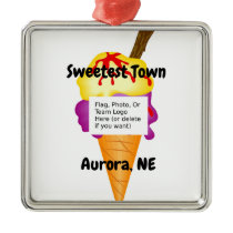 """Sweetest Town"" Design For Aurora, Nebraska Metal Ornament"