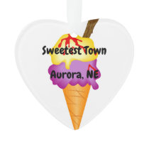 """Sweetest Town"" Design For Aurora, Nebraska Ornament"
