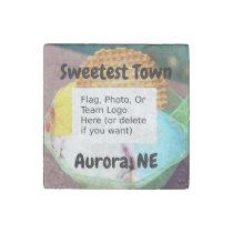 """""""Sweetest Town"""" Design For Aurora, Nebraska Stone Magnet"""