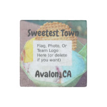 """Sweetest Town"" Design For Avalon, California Stone Magnet"