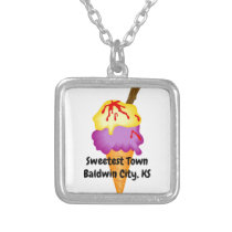 """""""Sweetest Town"""" Design For Baldwin City, Kansas Silver Plated Necklace"""
