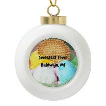"""Sweetest Town"" Design For Baldwyn, Mississippi Ceramic Ball Christmas Ornament"