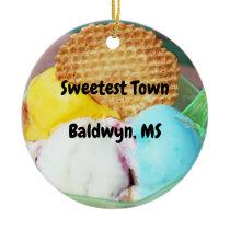 """Sweetest Town"" Design For Baldwyn, Mississippi Ceramic Ornament"