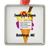 """Sweetest Town"" Design For Baldwyn, Mississippi Metal Ornament"