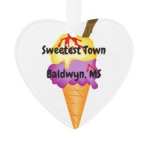 """Sweetest Town"" Design For Baldwyn, Mississippi Ornament"