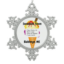 """""""Sweetest Town"""" Design For Baldwyn, Mississippi Snowflake Pewter Christmas Ornament"""