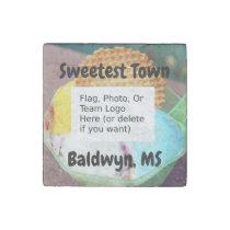 """Sweetest Town"" Design For Baldwyn, Mississippi Stone Magnet"