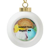 """Sweetest Town"" Design For Bayport, Minnesota Ceramic Ball Christmas Ornament"