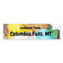 """Sweetest Town"" Design For Columbia Falls, Montana Bumper Sticker"