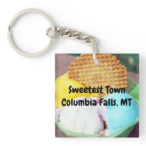 """Sweetest Town"" Design For Columbia Falls, Montana Keychain"