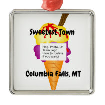 """Sweetest Town"" Design For Columbia Falls, Montana Metal Ornament"