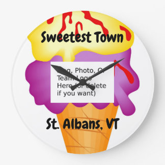 """Sweetest Town"" Design For St. Albans, Vermont Large Clock"