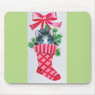 Sweetest Vintage Christmas Kitten in a Stocking Mouse Pad