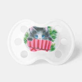 Sweetest Vintage Christmas Kitten in a Stocking Pacifier