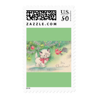 Sweetest Vintage Christmas Puppy Kitten Mouse Postage