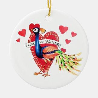 Sweetest Vintage Peacock Valentine Ceramic Ornament