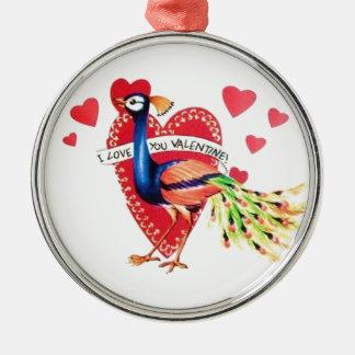 Sweetest Vintage Peacock Valentine Metal Ornament