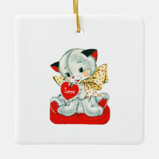 Sweetest Vintage Valentine Kitten Ceramic Ornament