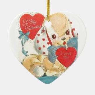 Sweetest Vintage Valentine Puppy Ceramic Ornament