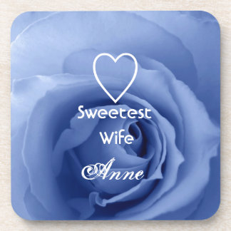 Sweetest Wife Dreamy Blue Rose Gift Collection Drink Coaster