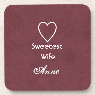Sweetest Wife Heart and Name WINE Anniversary Gift Coaster