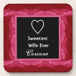 Sweetest Wife Red Petals Frame Custom Gift Beverage Coaster