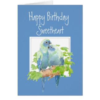 Sweetheart Birthday, Cute Romantic Parrots, Birds Greeting Card