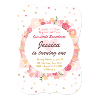 Sweetheart Birthday Invitation Valentine Pink Gold
