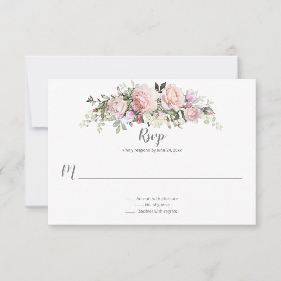 Sweetheart Blush Floral Bouquet Pale Green Back RSVP Card