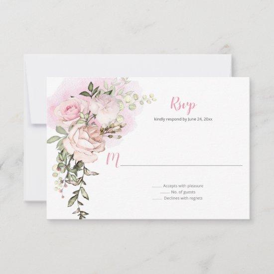 Sweetheart Blush Floral Drop Wedding RSVP Card