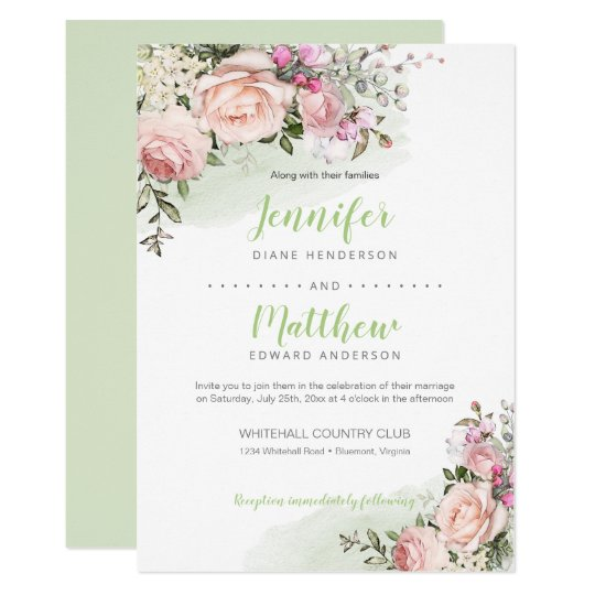 Sweetheart Blush Green Background Wedding Invitation