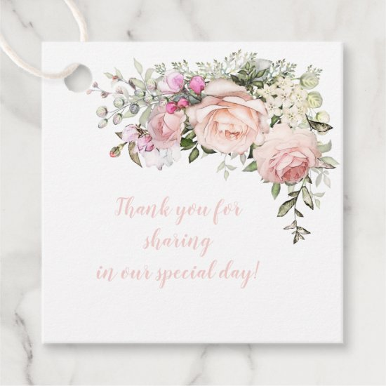 Sweetheart Blush Pink Roses Greenery Wedding | Favor Tags