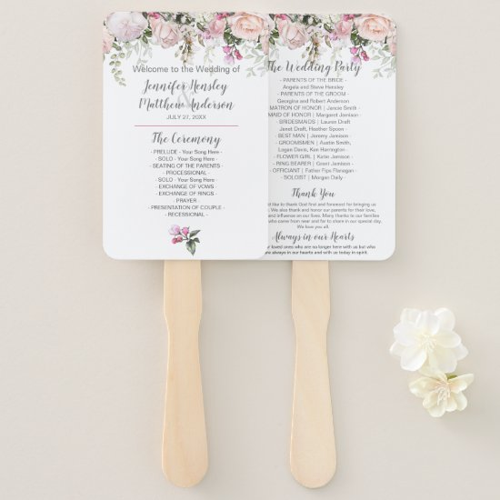 Sweetheart Blush Pink Roses Greenery Wedding Hand Fan