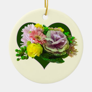 Sweetheart Bouquet Double-Sided Ceramic Round Christmas Ornament