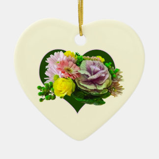 Sweetheart Bouquet Double-Sided Heart Ceramic Christmas Ornament