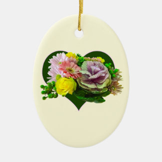 Sweetheart Bouquet Double-Sided Oval Ceramic Christmas Ornament