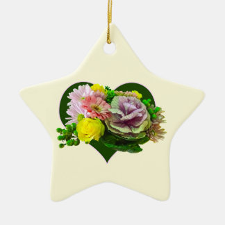 Sweetheart Bouquet Double-Sided Star Ceramic Christmas Ornament